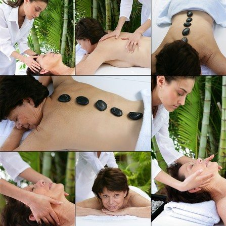 Collage of a woman at the spa